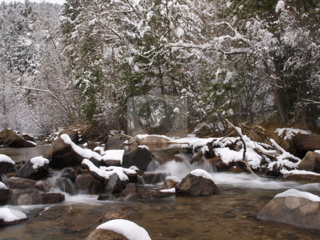 Winter River stock photo, Color image of a mountain river during winter. by Michael Rice
