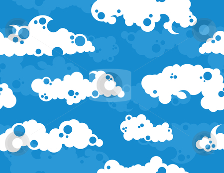 Cloudy Sky Background stock vector clipart, White Clouds on a Blue Sky Background by Adrian Sawvel