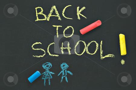 Back to school blackboard stock photo, Blackboard with the notice