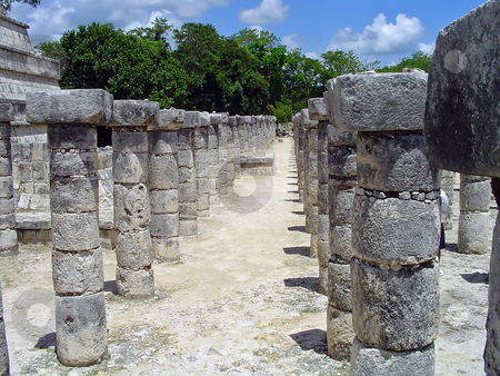 Chichen itza colonnade 2 stock photo, Ruins of a colonnade in maya city chichen itza, Mexico by Roberto Marinello