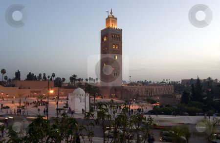 Marrakesh Koutoubia Minaret stock photo, The marvellous Koutoubia Minaret and the Mosque in the Marrakesh center, Moroc by Roberto Marinello