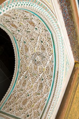 Bahia Palace Marrakesh stucco stock photo, Coloured Stucco of a door vault, Bahia Palace in Marrakesh by Roberto Marinello