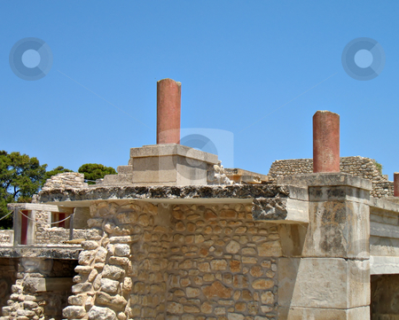 Knossos archaeological site stock photo, The great palace of Knossos archaeological site by Roberto Marinello