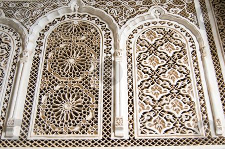 Bahia Palace Marrakesh stucco stock photo, Stucco details of Bahia Palace in Marrakesh by Roberto Marinello