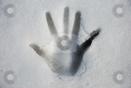 Hand stock photo, A hand print in the snow by Sarka