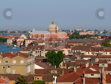 Venice stock photo, A clear view of the rooftops of the island of Guidecca in venice, with the island of san giorgio maggiore by Casinozack