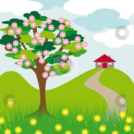 Pink blossom tree hill and house stock vector clipart, Pink blossom tree hill and house with clouds and grass by Karin Claus