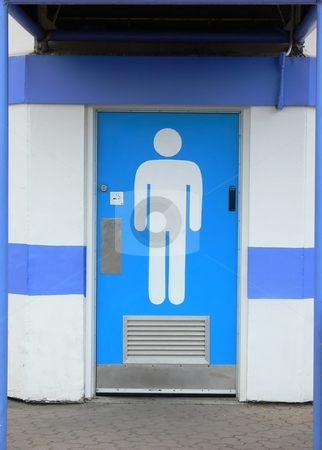 Public washroom   stock photo, The entrance door to a public washroom with the symbol of a men on the door, of Ontario place in Toronto. by Horst Petzold