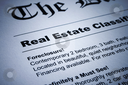 Real Estate ads on Newspaper stock photo, Closeup of real estate classified ads on newspaper by iodrakon