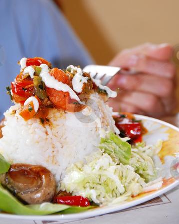 Appetizing mushroom stock photo, Appetizing rice dinner served, mushroom on fork by Julija Sapic