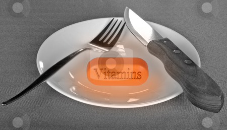Vitamins stock photo, Conceptual view of vitamins in diet by R Deron