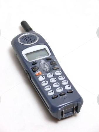 Telephone    stock photo, A cordless phone  in dark gray over white background. by Horst Petzold