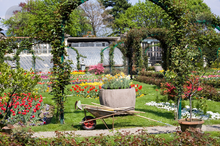Gardening in spring time stock photo, Gardeniong tools in a marvellous garden full of tulips near the Lago Maggiore, Italy by Roberto Marinello