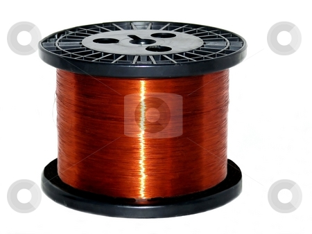 Copper wire    stock photo, A roll of very fin copper wire on a black plastic roll. by Horst Petzold