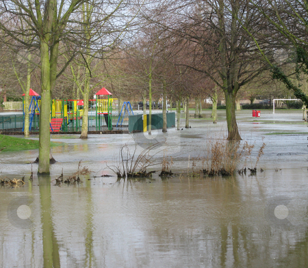 Flooded Play Area stock photo, Heavy rain after the snow melted meant that the River Colne overflowed its' banks in February 2009. The line of vegetation near the front is the top of the usual riverbank, about 5 feet (1.5metres) above the normal water levels by Helen Shorey