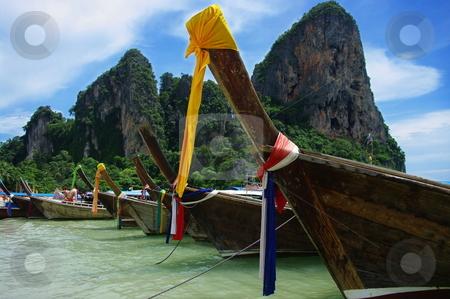 Boats on a beach stock photo, Boats on a tropical beach. West Railay, Krabi Province, Thailand by Martin Darley