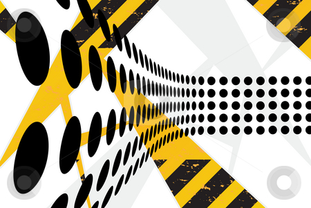 Funky Hazard Dots  stock photo, A background texture with hazard stripes and black dots arranged with perspective. by Todd Arena