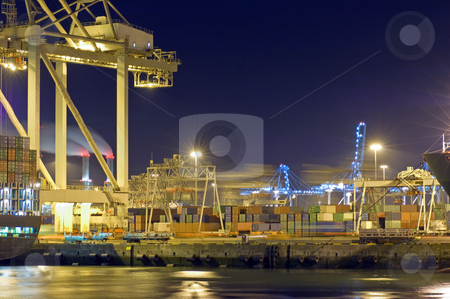Port activity stock photo, Activity at night in Rotterdam Harbor by Corepics VOF