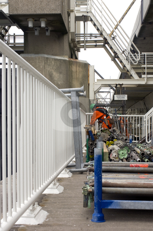 Storm flood barrier maintance stock photo, Maintenance on the civil engineering Marvel in the Netherlands: the Oosterschelde storm flood barrier by Corepics VOF