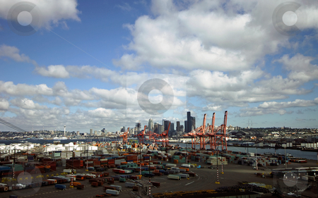 Seattle Harbour skyline stock photo, The Seattle skyline and container terminal, seen from West Seattle Bridge by Corepics VOF