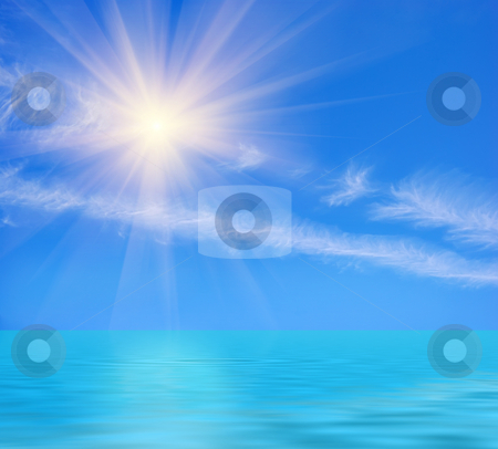 Sunny Day At Ocean stock photo, Sunny day at the ocean with blue sky and two diagonal white cloud stripes. by Denis Radovanovic