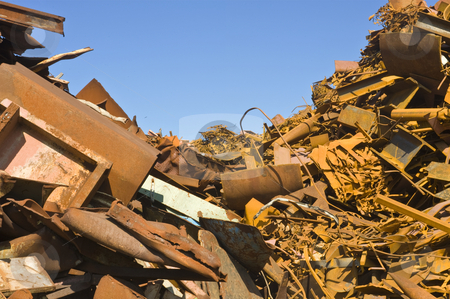 Metal Scrap Heap  stock photo, Heaps of different kinds of metal scrap in a scrap yard by Corepics VOF