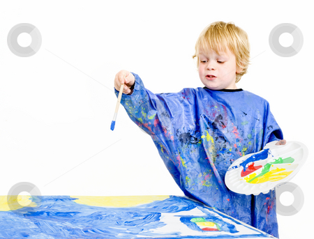 Painter explaining stock photo, A young painter explaining vividly about what he's doing by Corepics VOF