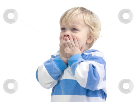 Surprised boy stock photo, A 3 year old caucasian boy, covering his mouth with his hands in total surprize. by Corepics VOF