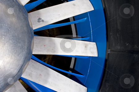 Windtunnel rotor stock photo, The details of the aluminum cast blades of an industrial windtunnel by Corepics VOF
