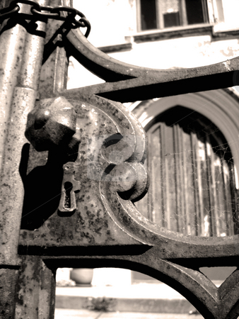 Gate Into The Past stock photo, An old gate to an old Cathedral. by Stephen Kerin