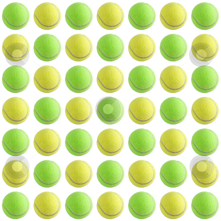 Tennis Ball Background stock photo, A bunch of tennis balls isolated on a white background. by Travis Manley