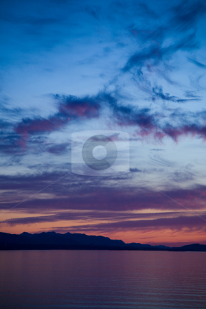 Strait of Juan de Fuca Sunset stock photo, A beautiful sunset over the Strait of Juan de Fuca in Sequim, Washington. by Travis Manley
