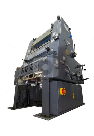 Printing press isolated on white stock photo, A printing press, isolated on white. Clipping path included by Corepics VOF