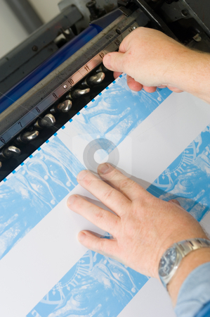 Optimising a printing process stock photo, Optimising the alignment of an offset printing press using proof prints of the cyan pass by Corepics VOF
