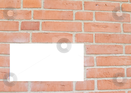 Red brick wall with copyspace stock photo, Red brick wall with space to copy by Phillip Dyhr Hobbs