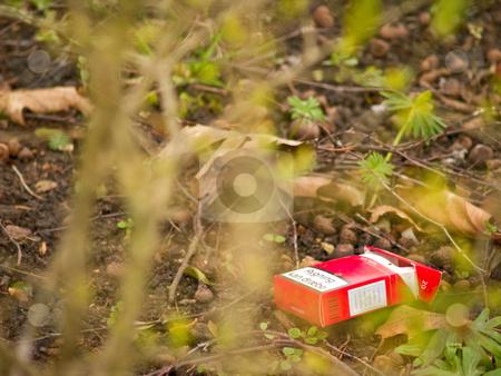Environmental - Urban pollution , cigarette pack in the bush stock photo, Environmental - Urban pollution , cigarette pack in the  bush by Phillip Dyhr Hobbs