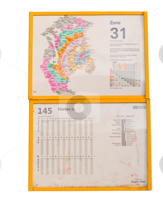 A danish bus timetable cut out stock photo, A danish bus timetable cut out with space to copy by Phillip Dyhr Hobbs