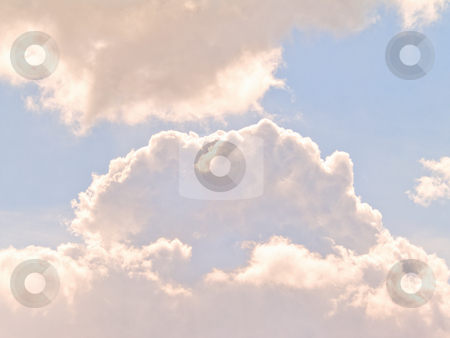 Puffy clouds on blue sky stock photo, Puffy clouds on blue sky in the daytime by Phillip Dyhr Hobbs