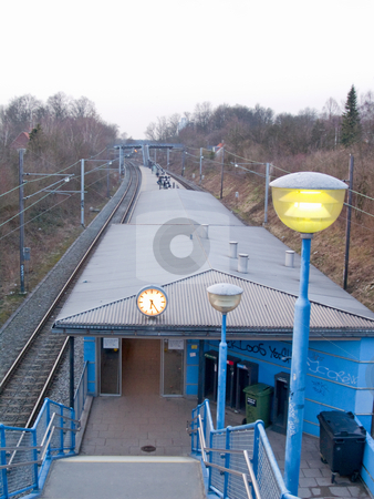 A boring railway station in an urban area stock photo, A boring railway station in an urban area with space to copy by Phillip Dyhr Hobbs