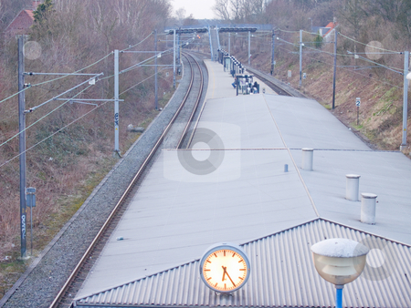 A Quiet railway station in the suburbs of Copenhagen stock photo, A Quiet railway station in the suburbs of Copenhagen Denmark by Phillip Dyhr Hobbs