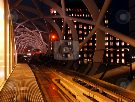 Tram platform stock photo, A tram approaching the platform in a modern built elevated tram station by Corepics VOF