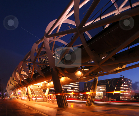Elevated tram line stock photo, The modern looking, futuristic elevated tram line in the Hague, the Netherlands at night by Corepics VOF