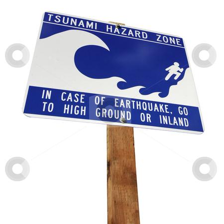 Tsunami Hazard stock photo, A Tsunami Hazard warning sign near the Pacific Coast in the Olympic Peninsula, Washington, USA by Corepics VOF