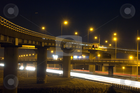 Motorway Over-pass stock photo, The viaducts of a motorway junction at night by Corepics VOF