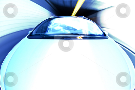 Exiting a Tunnel at high speed stock photo, A car exiting a tunnel. The effect is created with the whitebalance and using a high key - overexposure. Intended as-is. by Corepics VOF