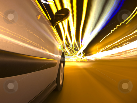 Downtown Driving stock photo, A car driving in the busy downtown streets, with many lights overhead, at high speed. by Corepics VOF