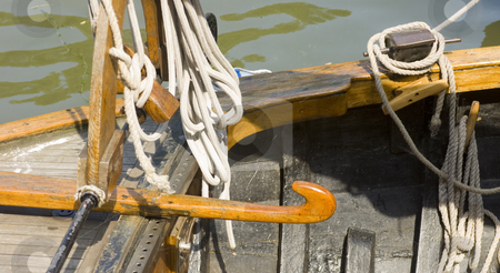 Details of an old Dutch sailing boat stock photo, Details of an old wooden flatbottom sailing boat. by Corepics VOF