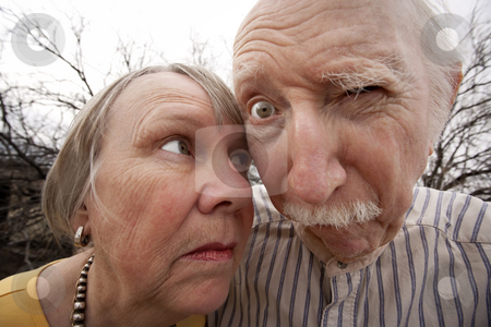 Crazy Couple stock photo, Closeup portrait of crazy elderly couple outdoors by Scott Griessel