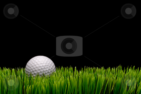 Horizontal image of a white golf ball in green grass on a black  stock photo, Horizontal image of a white golf ball in green grass on a black  background with space for copy by Vince Clements