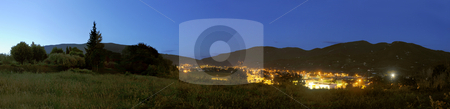 Nyons Skyline stock photo, A panoramic image of the town of Nyons, Drome en Provence, in France at night by Corepics VOF